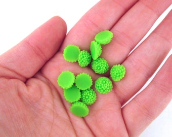 12 Lime Green 10mm Mum Cabochons, Round Chrysanthemum Cabochons