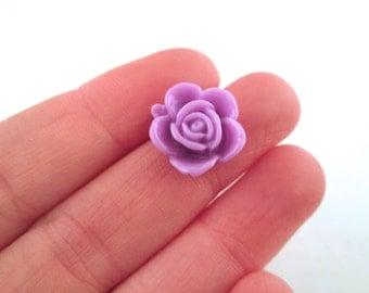 10 15mm lavender rose cabochons, resin flower cabs