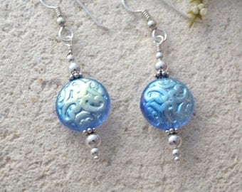 Blue Earrings, Dangle Drop Earrings,  Periwinkle Earrings, Glass Earrngs, Lightweight Earrings, Sterling Silver Earrings, 080816e100