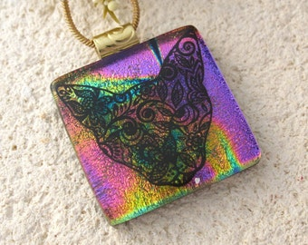 Cat Necklace, Sugar Skull Necklace, Day of Dead Jewelry, Dichroic Glass Jewelry, Fused Glass Jewelry, Dichroic Glass  Necklace,  101516p101