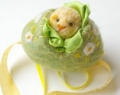 Easter Egg Toy: Sweet Something in 'Blossom' (Silk and Wool Hollow Egg with Playsilk and Chick)