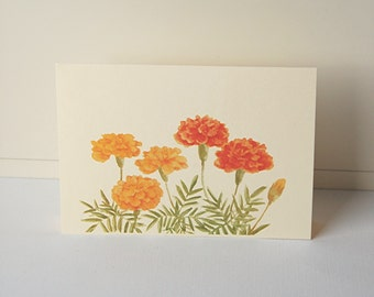 Marigold Note Cards, Blank Note Cards Set, Flower Note Cards, Thank You Card, All Occasion Cards, Greeting Cards, Note Cards, Handmade