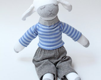 Sock Animal. Soft Plush Stuffed Sock Lamb. Softie Toy Lamb. Snuggle Up Doll. White and Gray Cloth Sheep With Removable Clothes. Baby Gift