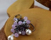 "Lilac purple ""candy jade"" and Swarovski Crystal and Pearl Glam cascade earrings perfect for prom weddings or just everyday"