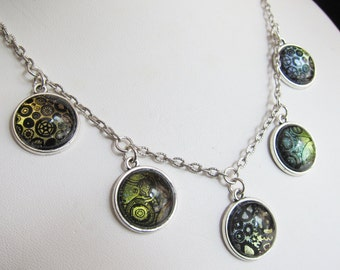Prism Collection -Like Clockwork - Color Changing Steampunk Print Necklace