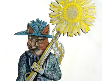 Garden Fox holding mutant Sunflower - Wooden Folk Sculpture