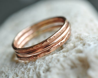 Stacking Rings - 14k ROSE gold filled - set of 3 thin bands -  pick your textures - skinny rings