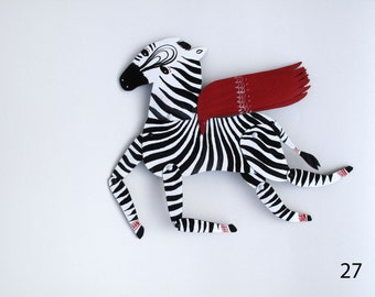 Ziggy the Zebra / Articulated Decoration  / Hinged Beasts Series