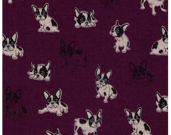 HALF YARD - French Bulldogs - Purple - 80/20 Cotton/Linen Blend - Japanese Import