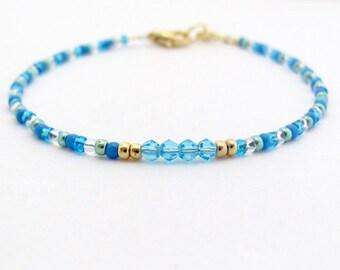 Blue Friendship Bracelet, Aqua Blue Swarovski Crystal, Seed Bead Bracelet, Friendship Bracelet, Summer Jewelry, Zen Yoga Bracelet