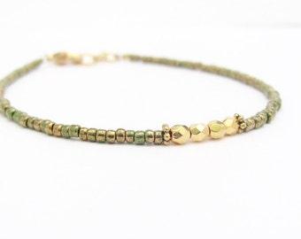 Holiday Green Bracelet, Beaded Bracelet, Green seed bead bracelet, Rustic Green Gold Bracelet, Green Friendship Bracelet, Minimal Bracelet