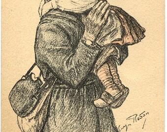 Vintage French Postcard Soldier Child Alsace 1918 color
