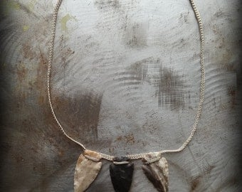 Arrowhead Necklace, Crocheted Lace, Handmade, Nature, Unique, Tribal, Bohemian, Monicaj