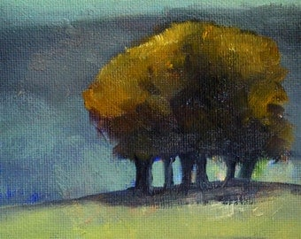 Small Landscape Painting, Original Oil, 5x7 Canvas, Trees, Sunset, Yellow, Blue Green, Gold, Miniature, Little Wall Decor, Shadows