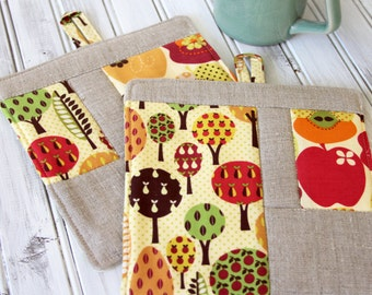 Patchwork Pot Holder, Trivet, Hot Pad Kitchen Set, Apple Pear Trees with Linen Patchwork 2