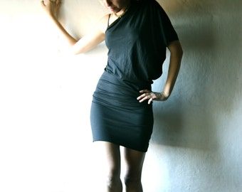 Black one shoulder dress, One sleeve dress, T-shirt dress, Tunic dress, jersey dress, Sexy dress, Little black dress, custom dress