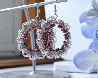 Purple and Silver Beaded Earrings