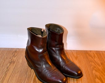 1970s, Vintage Ankle Boots, Us 10.5, Uk 8.5, Eu 41, Black Cherry Boots, USA MADE, Leather Ankle Boots, Chelsea Boots, Ankle Cowboy Boots