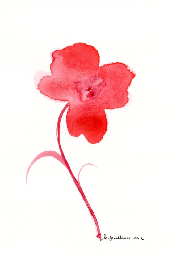 "Original watercolor painting of a simple red flower: ""Fiery Flower"""