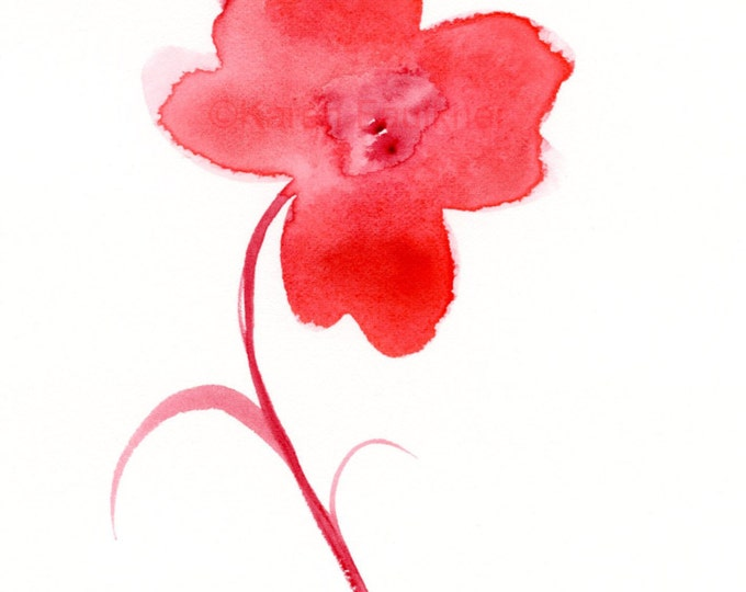 """Original watercolor painting of a simple red flower: """"Fiery Flower"""""""