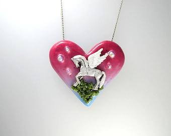 Pegasus Heart Necklace, Pegasus Love Jewelry, Pegasus Fantasy Necklace, Elegant Pegasus Jewelry, Pegasus Forest Jewelry, Fairy Tale Necklace