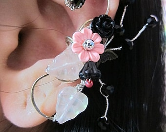 Flower Ear Cuff, Pink Ear Cuff, Flower Earcuff, Nature Ear Cuff, Nature Earcuff, Bridal Cuff Earring, Bridal Ear Cuff, Flower Ear Wrap