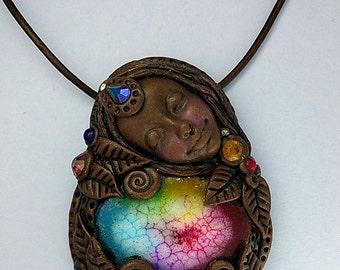 Solar Gemstone Goddess Necklace - Clay Goddess Pendant Jewelry - Metaphysical Jewelry - Meditation Jewelry - Healing Necklace - Aldesigns