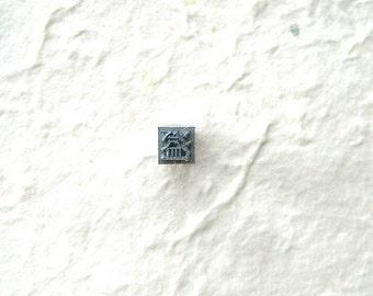 Vintage Japanese Typewriter Key - Metal Stamp - Kanji Stamp Chinese Character - Japanese Stamp - Vintage Stamp - Overflow And Flood
