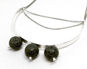 Silver Arc Necklace, Black Lava Stone Statement Necklace