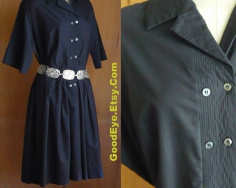 Vintage 50s Shirtwaist Dress BLACK size 12 14 16 1960s ATOMIC HOUSEWIFE Large Waist 35 inch Bust 49