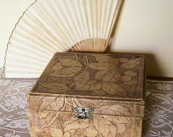 Vintage Wooden Pyrography Box Pink Lining 7 x 7 Shabby Storage  1902