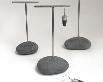 Earring Display Stand Trio T Rack Holder Lake Erie Beach Stone Rock Jewelry Holder Show Display - Set of Three