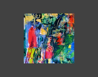 """Bright Colourful abstract art print, from original small painting,  """"Feast of Behemoth"""""""