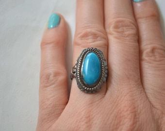 Turquoise Ring, Vintage Native American Ring, Tribal Ring, Vintage Ring, Sterling Ring, Vintage Sterling Silver Ring, Navajo Ring