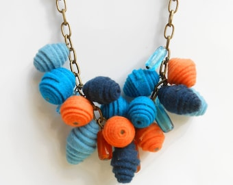 Spring racimo felt statement necklace in blue and orange - felt jewelry - brass chain short necklace - textile necklace - spring necklace