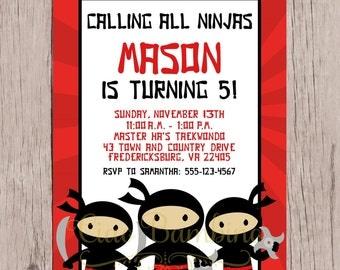 PRINTABLE Ninja Birthday Party Invitation / Print Your Own Personalized Ninja Invitation for Ninja Birthday Party / You Print