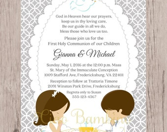 PRINTABLE First Holy Communion Invitation for Siblings, Twins, Cousins / Choose Hair & Skin  and Boy or Girl / You Print - HC10