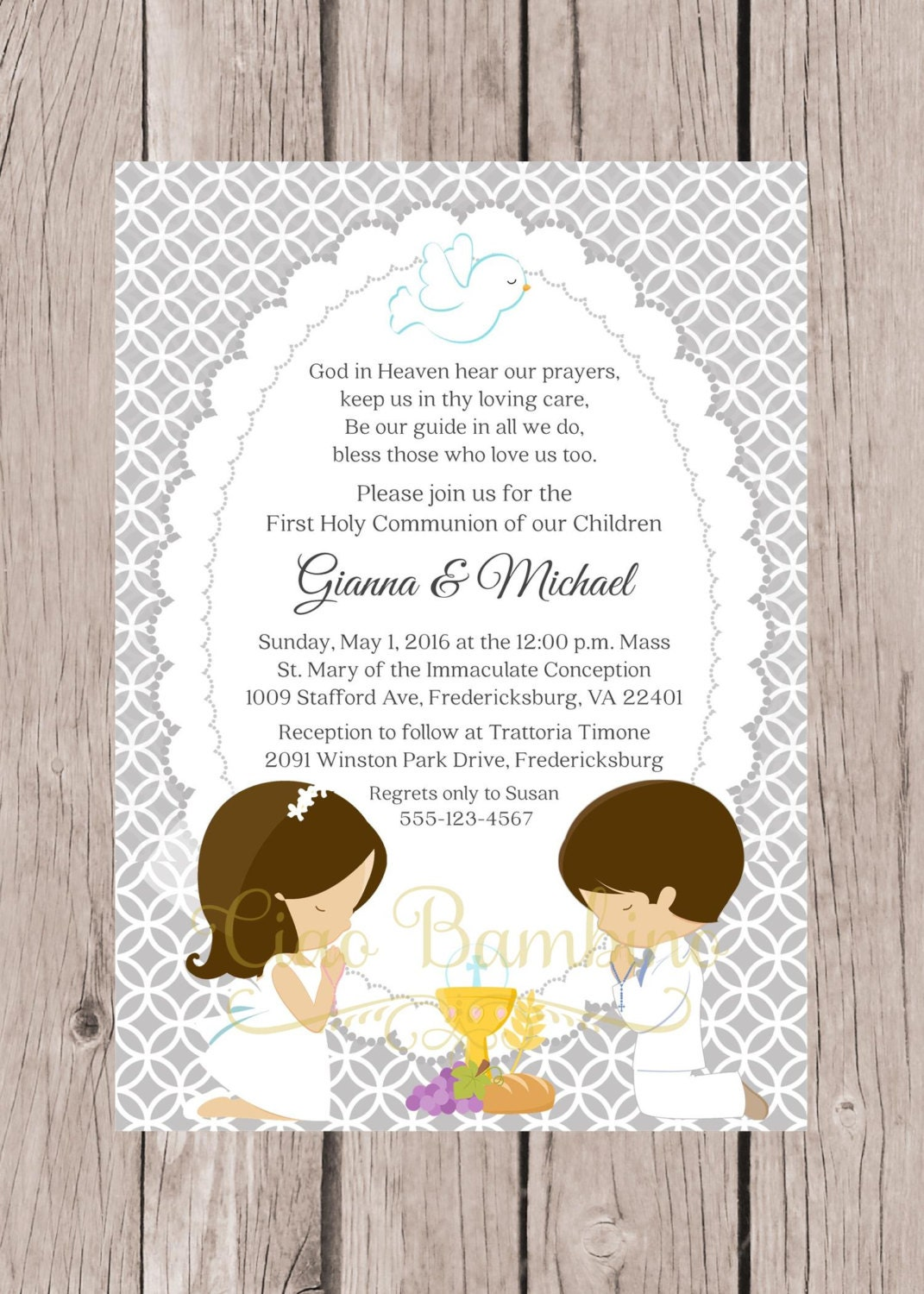 Playful image with printable first communion invites