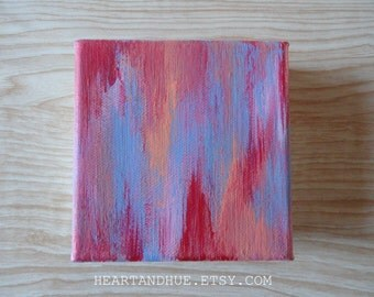 4x4 RED PINK PERIWINKLE abstract canvas