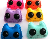 Rainbow Kitty Pin - Eco-friendly Handsewn Felt Plush Cat Brooch/Pin - 6 colours to choose from!