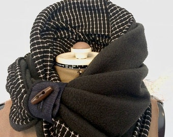 BLACK GRID and FLEECE infinity scarf - reversible cowl, multiple styling options. Fleece and bla sweckater knit, denim and wood toggle.