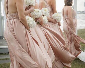 Upscale Infinity Convertible Dress Beach Wedding Sewn to bridesmaid size/length (unlike twobirds) blush nude dusty rose pink blue teal gold