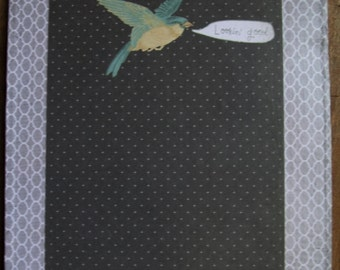Decorated Clipboard in Gray with a Bird