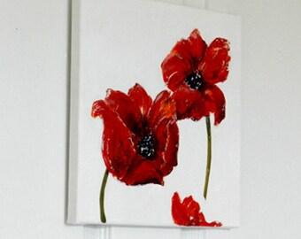 Poppy Flower Art Original Acrylic Painting, Flower Canvas Red Poppies Art, Wall Art, Poppy Decor, Wedding, Housewarming