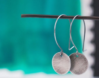 Antiqued Circle Earrings  {Sterling Silver}