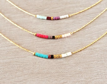 Minimalist Gold Delicate Short Necklace with Tiny Beads // Thin Layering Necklace // Colorful & Simple Boho Gift Necklace