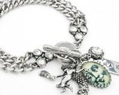 Moon Charm Bracelet, Stainless Steel Charm Bracelet, Magical Moon Jewelry, Moon Bracelet, Luna Bracelet, Celestial Bracelet