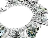 Silver Charm Bracelet, Fantasy Charm Bracelet, Magical Bracelet, Spells Bracelet, Potions Jewelry, The Magic Wand Jewelry
