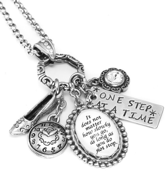 Silver Inspirational Charm Necklace, Charm Glass Pendant, Silver Inspirational Quotes Jewelry, with stainless steel chain