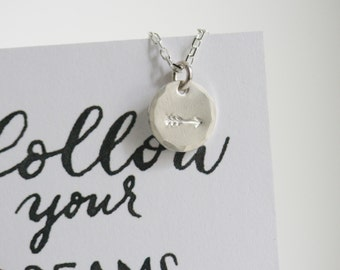 Follow your Dreams - Handstamped Arrow Necklace Necklace/Card set - SOLID sterling or 14K GOLD-FILLED